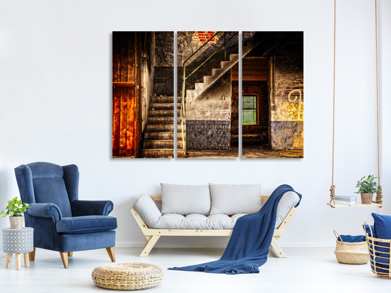 3 Piece Canvas Print Abandoned stairs