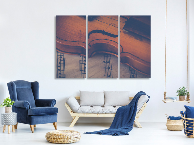 3 Piece Canvas Print Old violin