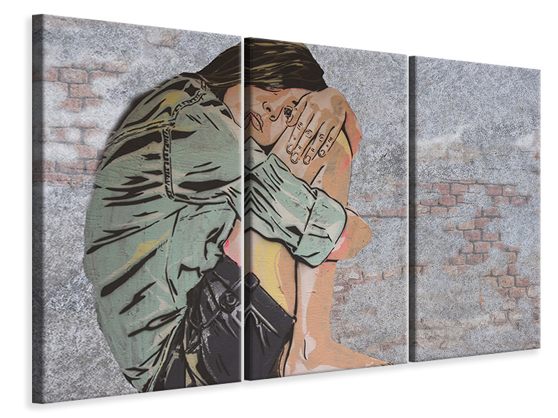 3 Piece Canvas Print The girl on the wall