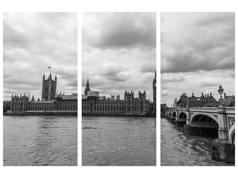 3 Piece Canvas Print Clouds over London