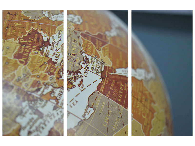 3 Piece Canvas Print Close up globe