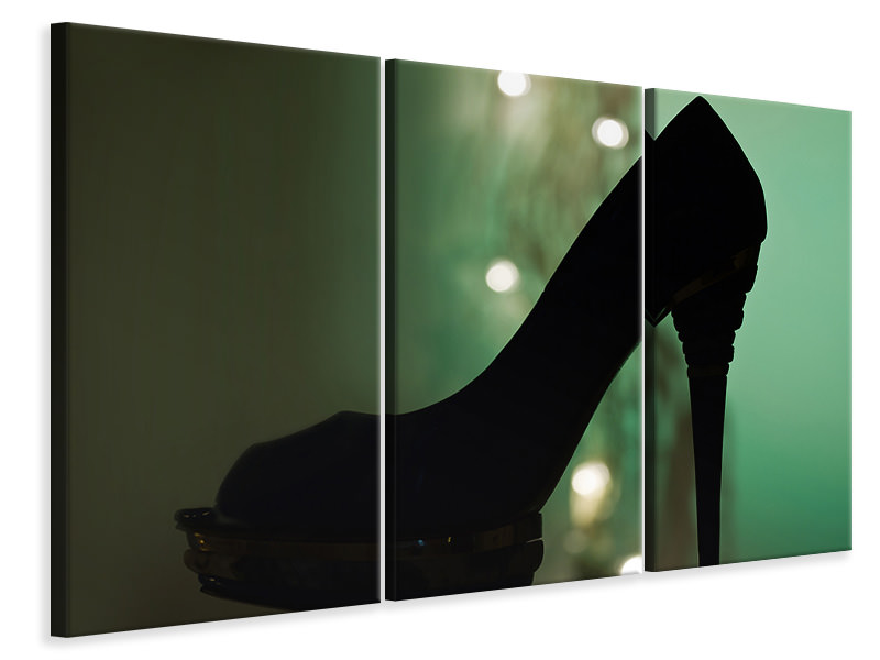 3 Piece Canvas Print Black high heel