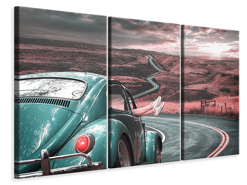3 Piece Canvas Print On the road with the classic car