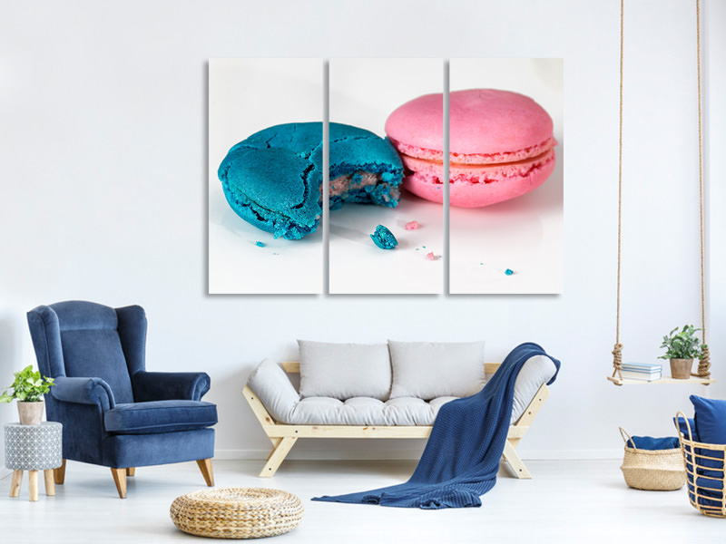 3 Piece Canvas Print 2 macaroons