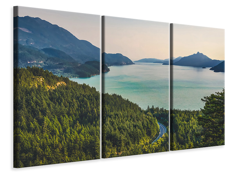 3 Piece Canvas Print Best view of the mountain lake