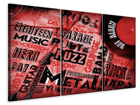 3 Piece Canvas Print Writings Music Grunge
