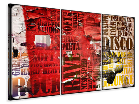 3 Piece Canvas Print Music Text In Grunge Style