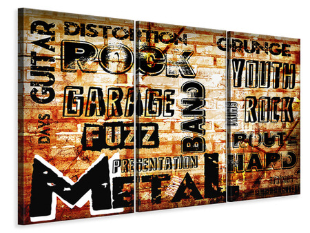 3 Piece Canvas Print Rock In Grunge Style