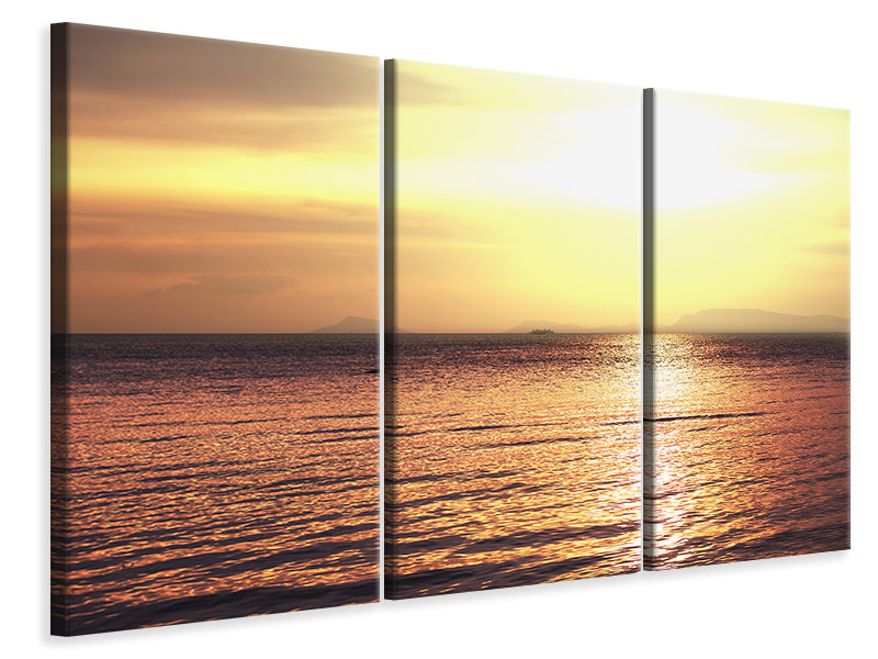 3 Piece Canvas Print Sunset At The Lake