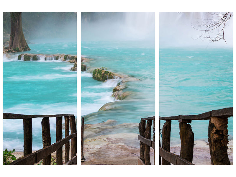3 Piece Canvas Print House At Waterfall