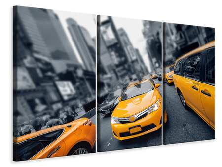 3 Piece Canvas Print Taxi In NYC
