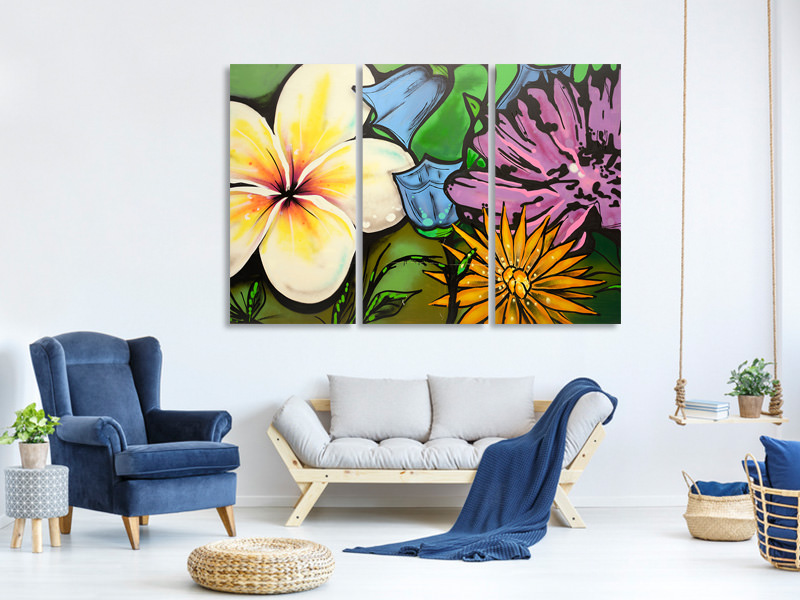3 Piece Canvas Print Graffiti Flowers