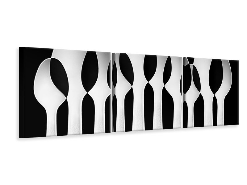 Panoramic 3 Piece Canvas Print Spoons Abstract: Forest