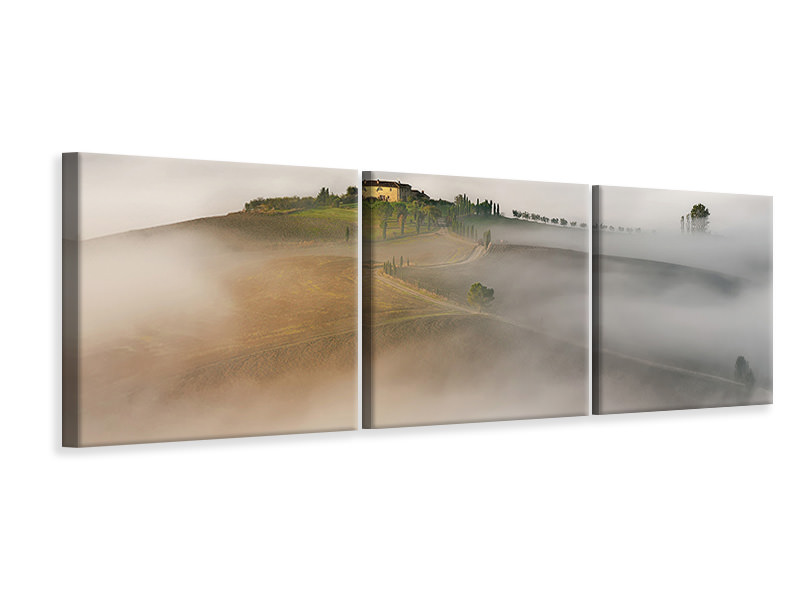 Panoramic 3 Piece Canvas Print Tuscany II