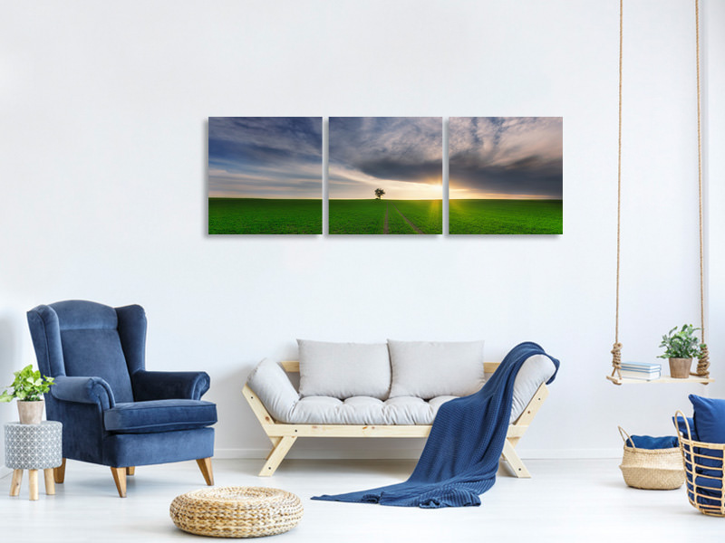 Tableau sur toile en 3 parties panoramique Loner In The Sun