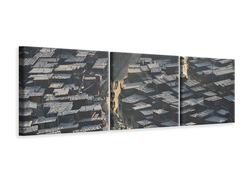 Panoramic 3 Piece Canvas Print Larung Gar Buddist Institute