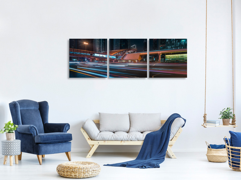 Panoramic 3 Piece Canvas Print The Station