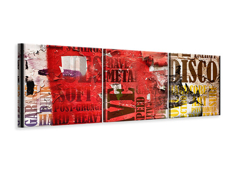 Panoramic 3 Piece Canvas Print Music Text In Grunge Style