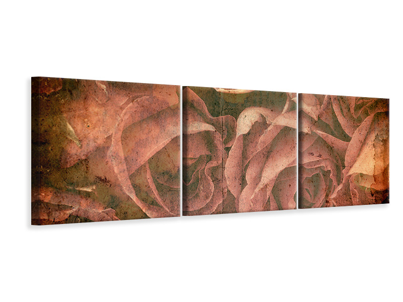 Panoramic 3 Piece Canvas Print Rose Bouquet