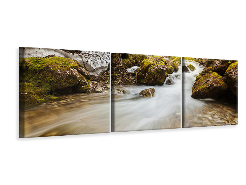 Panoramic 3 Piece Canvas Print Cascading Waterfall