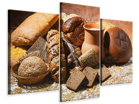 Modern 3 Piece Canvas Print Breakfast Breads