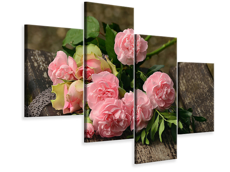 Modern 4 Piece Canvas Print A bouquet of roses