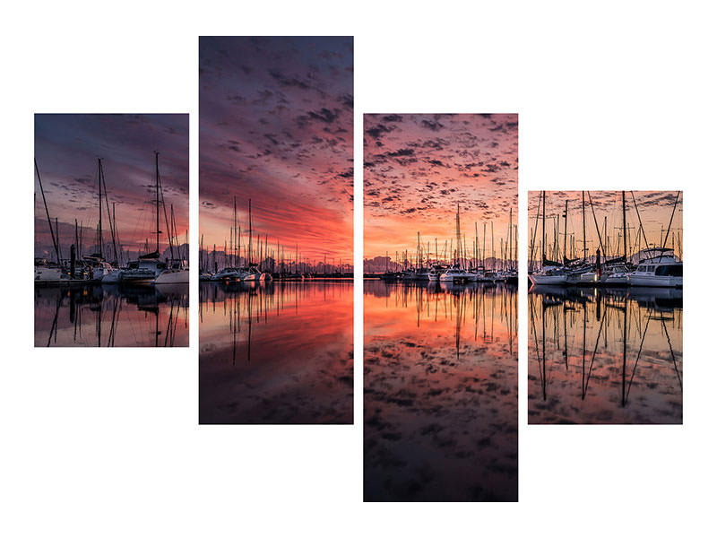Modern 4 Piece Canvas Print Evening mood in the harbor
