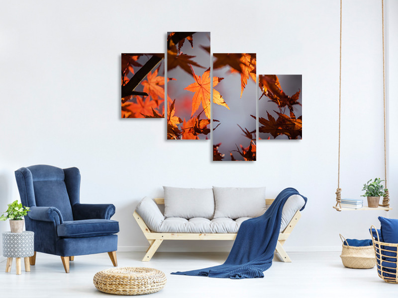 Modern 4 Piece Canvas Print Maple leaves in autumn