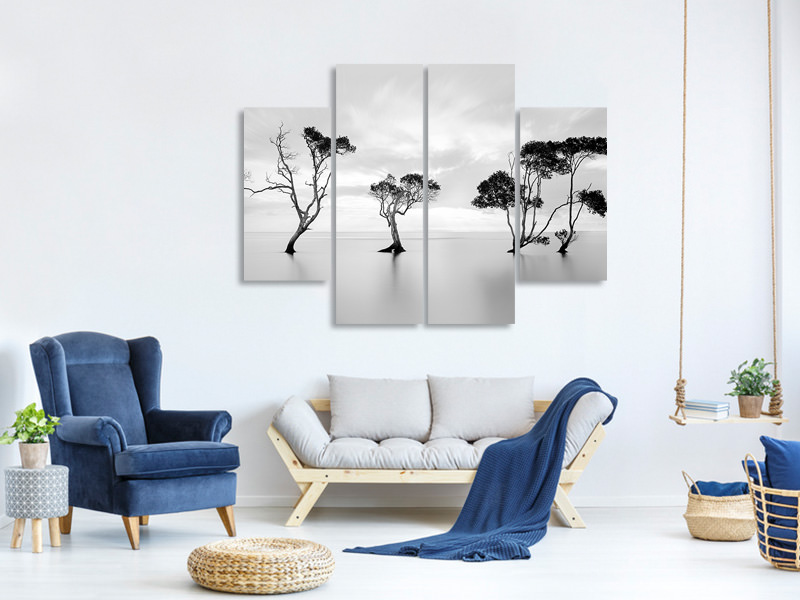 4 Piece Canvas Print Drowning Not Waving