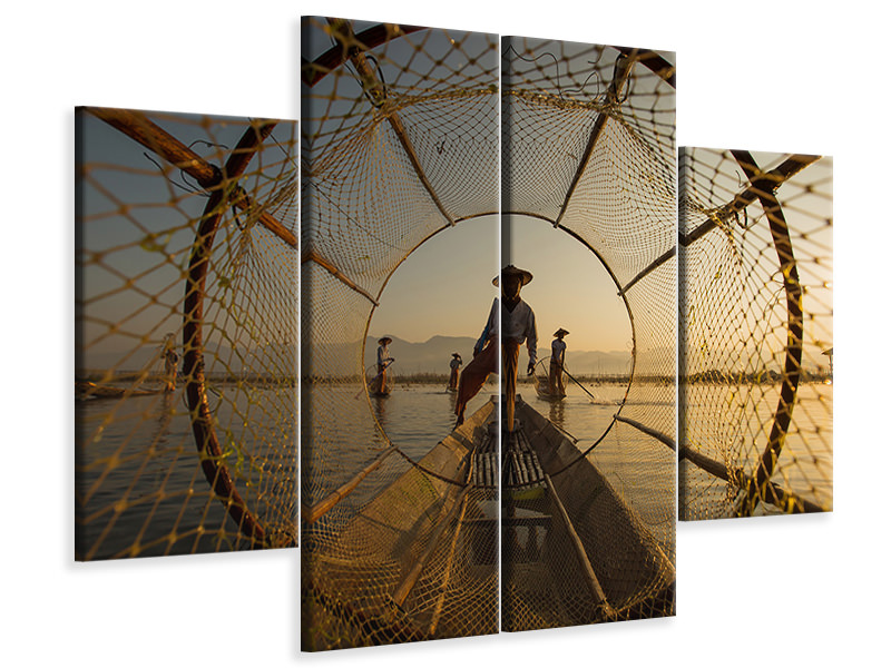 4 Piece Canvas Print Inle Fisherman