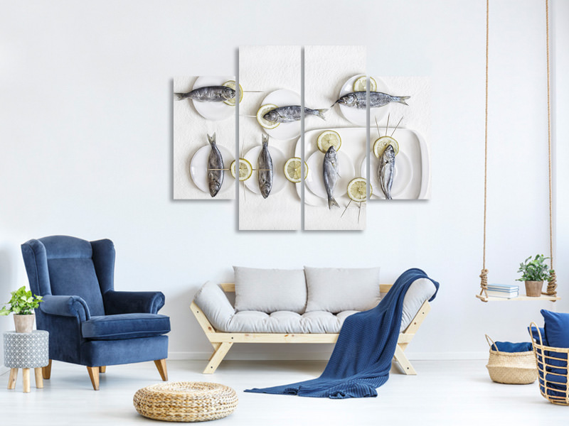4 Piece Canvas Print Still Life With Fish