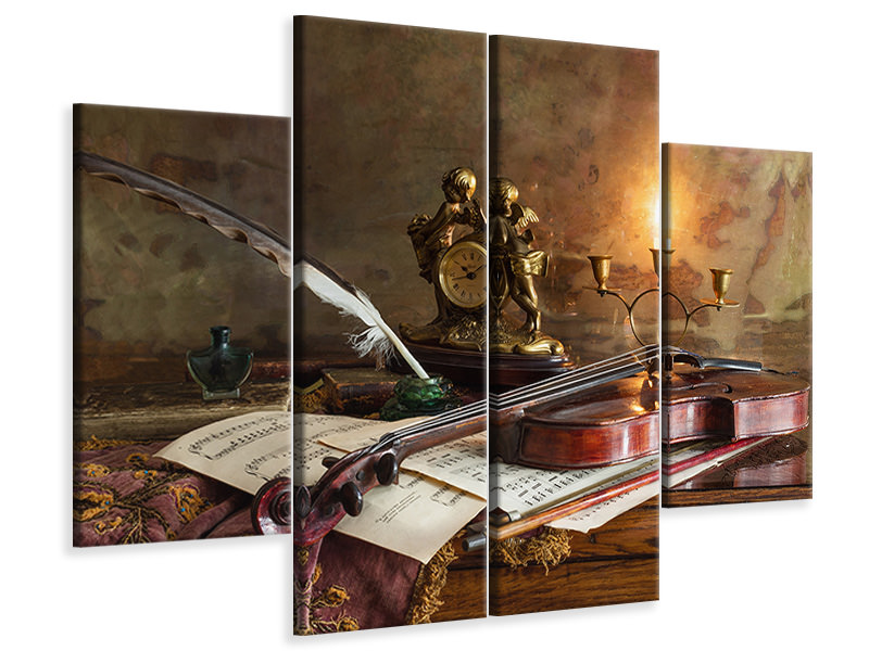 4 Piece Canvas Print Still Life With Violin And Clock