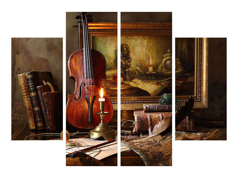 4 Piece Canvas Print Still Life With Violin And Painting II