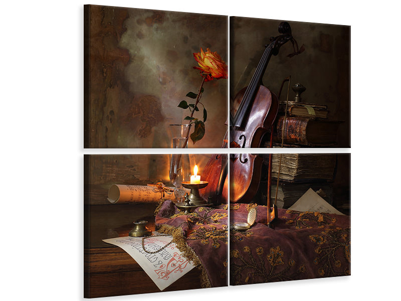 Tableau sur Toile en 4 parties Still Life With Violin And Rose