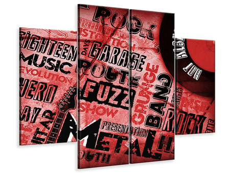 4 Piece Canvas Print Writings Music Grunge