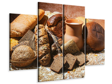 4 Piece Canvas Print Breakfast Breads