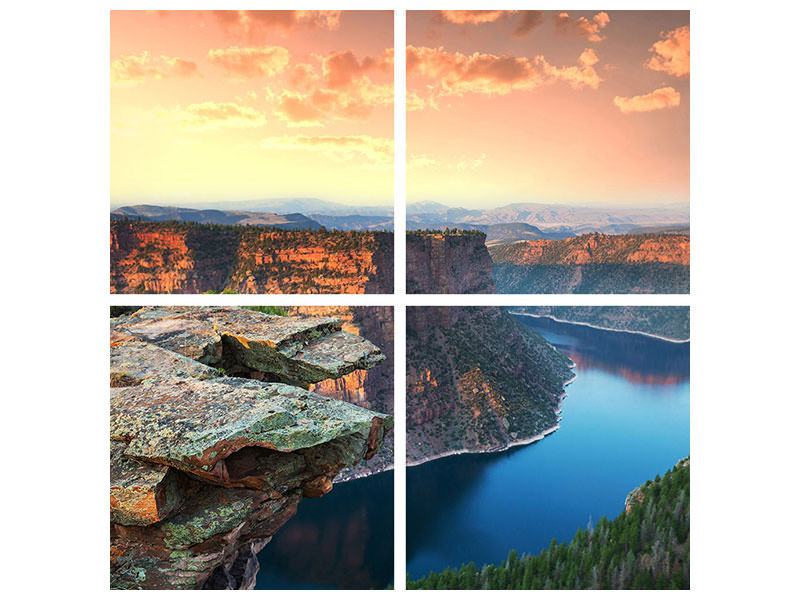 4 Piece Canvas Print Sunset Rocky Mountains
