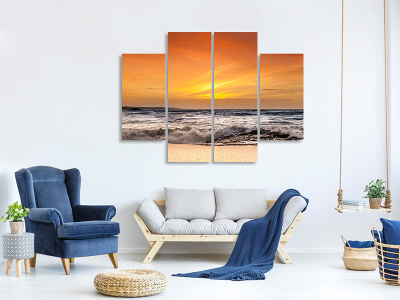 4 Piece Canvas Print Lake With Sunset