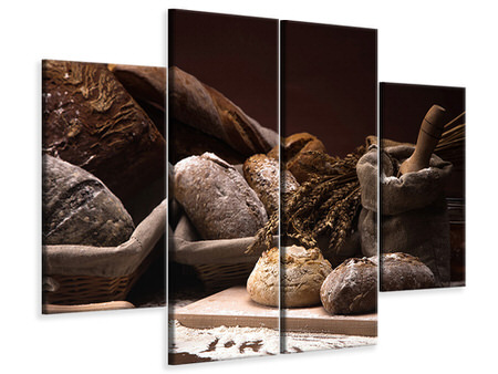4 Piece Canvas Print Bread Bakery