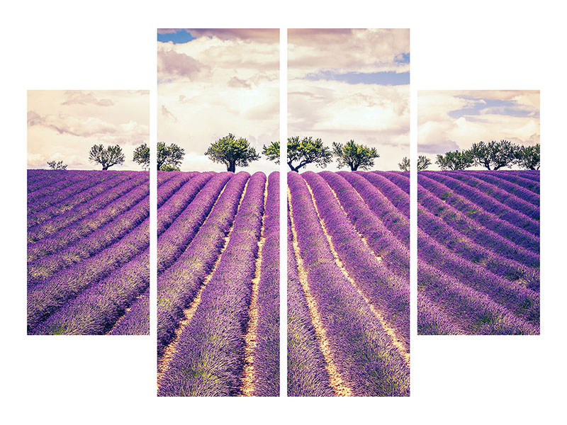 4 Piece Canvas Print The Lavender Field