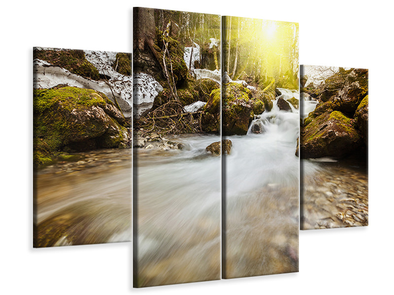4 Piece Canvas Print Cascading Waterfall