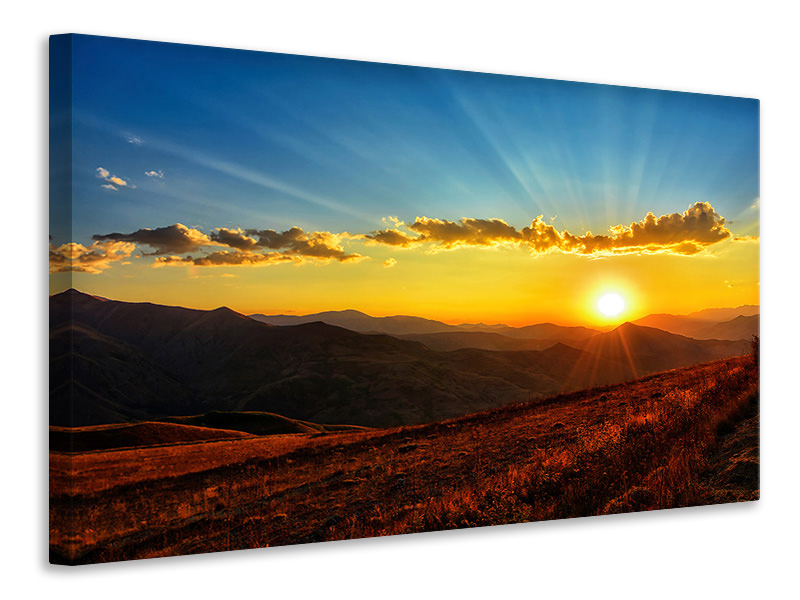 Canvas print Sunset in the world of mountains