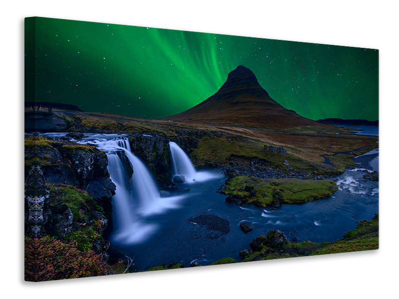 Canvas print Kirkjufell  Under A Boreal Green Sky