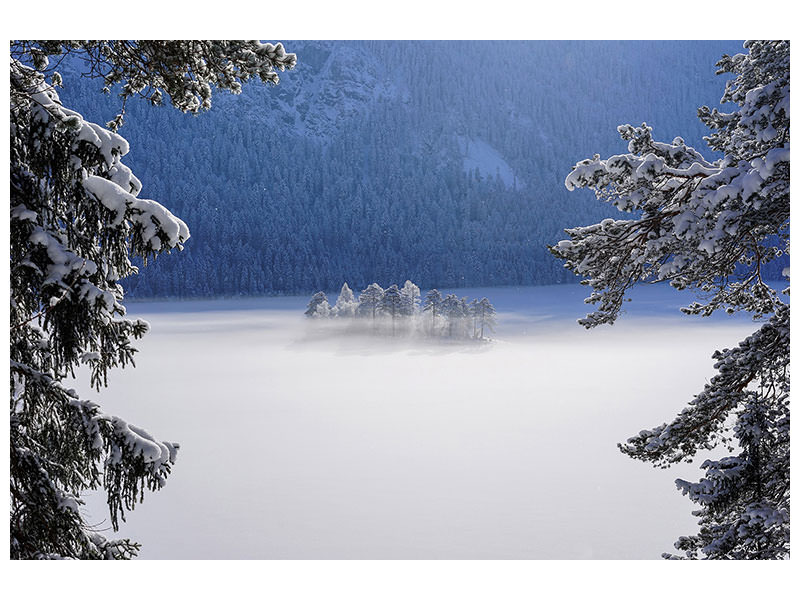 Stampa su tela Fog Over Frozen Lake