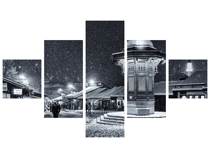 5 Piece Canvas Print Winter In Sarajevo