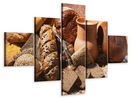 5 Piece Canvas Print Breakfast Breads