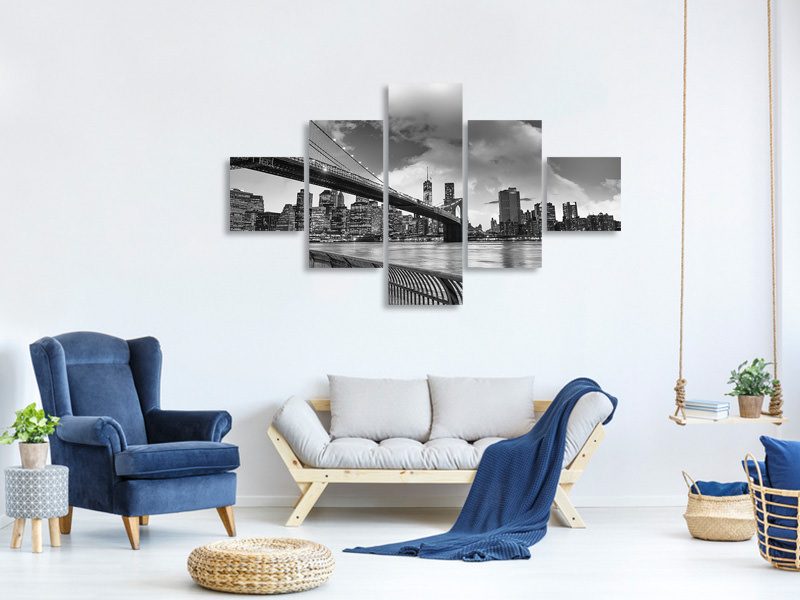5 Piece Canvas Print Skyline Black And White Photography Brooklyn Bridge NY