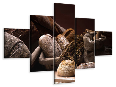 5 Piece Canvas Print Bread Bakery